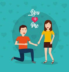 Happy man on his knee proposal woman vector