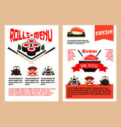 Japanese restaurant or sushi cuisine menu vector
