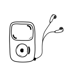 Line mp3 player with headphones to listen music vector