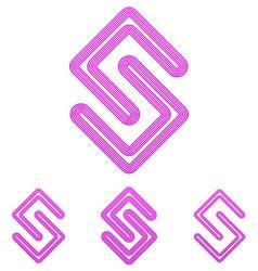 Magenta line research logo design set vector