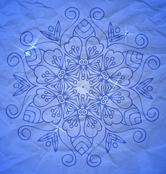 Mandala on crumpled paper vector