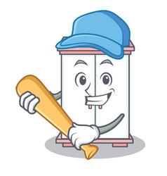 Playing baseball cabinet character cartoon style vector