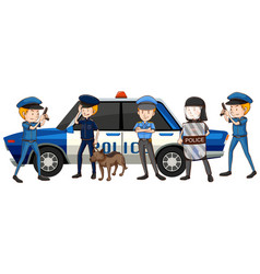 Policemen in different uniform by the car vector