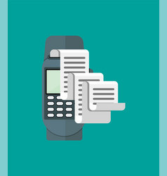Pos terminal paper receipt and keypad vector