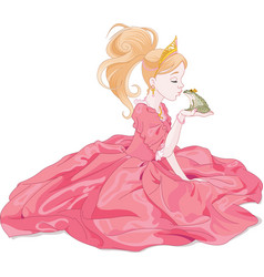 Princess kissing frog vector