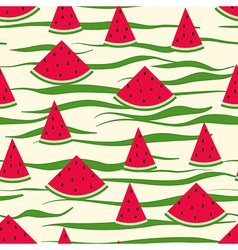 Seamless pattern of watermelon slices striped vector