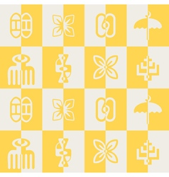 seamless pattern with adinkra symbols vector image
