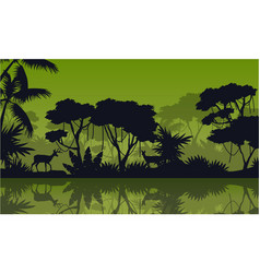 Silhouette rain forest with lake scenery vector