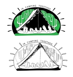 Silhouette variations of funny camping tents on vector