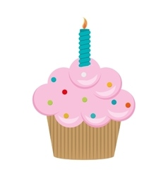 Single cupcake with candle icon vector