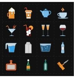 sixteen modern flat bar icons vector image vector image
