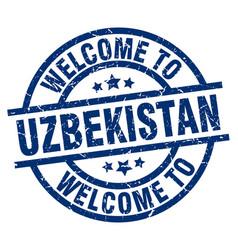 Welcome to uzbekistan blue stamp vector