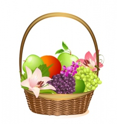 wicker fruit basket with flowers vector image vector image