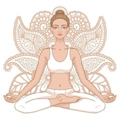 Women silhouette yoga lotus pose padmasana vector
