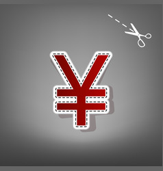 Yen sign red icon with for applique from vector