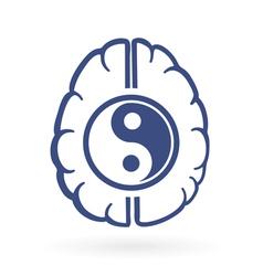 Ying yang and human brain symbols vector