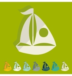 Flat design sailing boats vector