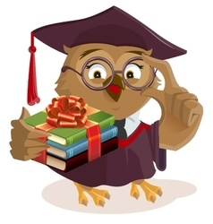 Owl professor holding books vector