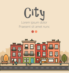 Flat design modern urban landscape and city vector