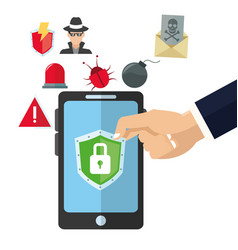 Padlock smartphone cyber security system design vector