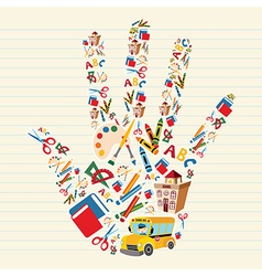 Back to school tools in hand shape vector