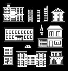 White houses icons on black backgrond vector