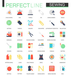 Set of flat needlework and sewing equipment vector