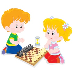 Children play chess vector
