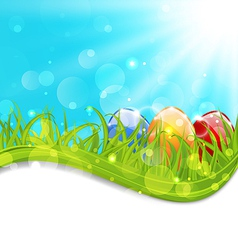 April card with easter set colorful eggs vector