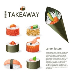 Great sushi set vector
