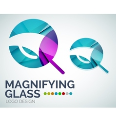 Magnifying glass ogo design made of color pieces vector image
