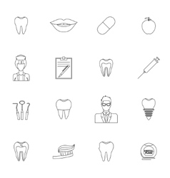 Dental icons outline vector