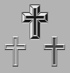 3D stone carved christian crosses vector image