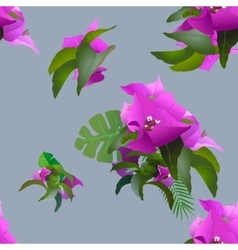 Tropical exotic flowers and plants seamless vector