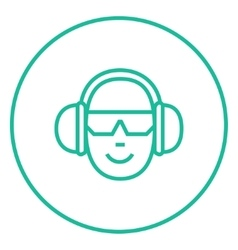 Man in headphones line icon vector