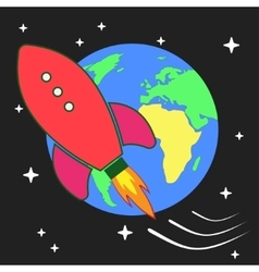 stylized retro rocket ship vector image