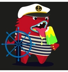 Cute monster graphic captain vector