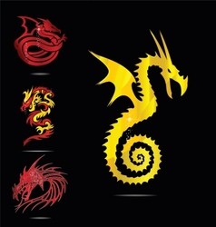 Gold and red dragons emblems set vector
