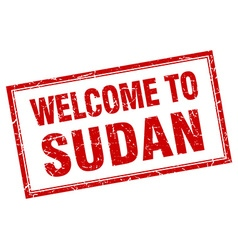 Sudan red square grunge welcome isolated stamp vector