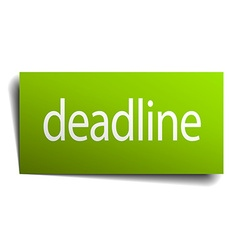 Deadline green paper sign on white background vector