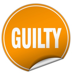 Guilty round orange sticker isolated on white vector