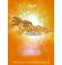 Summer is waiting you party poster with palm leaf vector