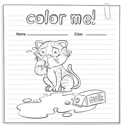 A coloring worksheet with a cat vector