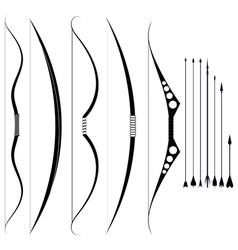 A set of military bows medieval weapons vector