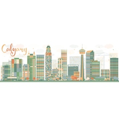 Abstract calgary skyline with color buildings vector