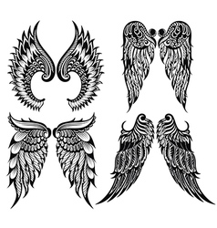 Abstract wings set vector image vector image