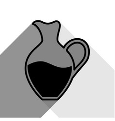 amphora sign black icon with two flat vector image vector image