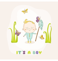 Baby boy catching butterflies - baby shower vector