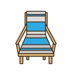 Blue chair beach wooden sign vector