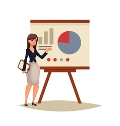 Businesswoman giving presentation using a board vector